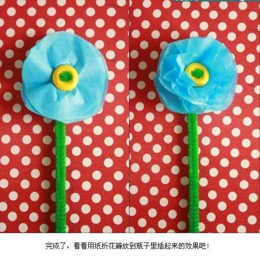 生活diy:玻璃纸手折花-漂亮塑料花的折法